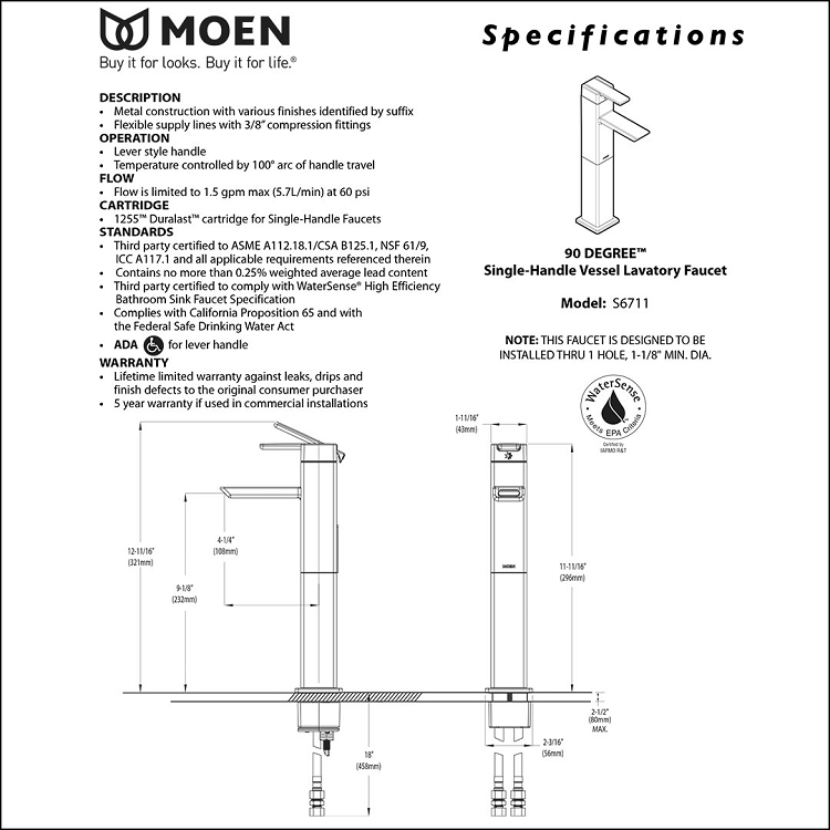 moen 90 degree faucet s6711  Moen S6711 Diagram #11