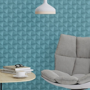 Wall Paper Deco Style 3D Combs Blue